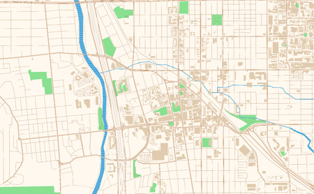 Tucson Arizona printable map excerpt. This vector streetmap of downtown Tucson is made for infographic and print projects.