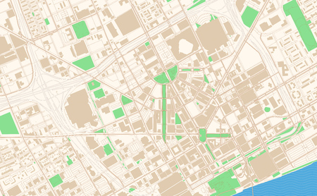 Detroit Michigan printable map excerpt. This vector streetmap of downtown Detroit is made for infographic and print projects. Illustration