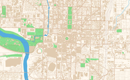 Indianapolis Indiana printable map excerpt. This vector streetmap of downtown Indianapolis is made for infographic and print projects.