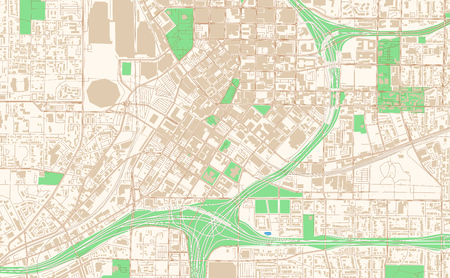 Atlanta Georgia printable map excerpt. This vector streetmap of downtown Atlanta is made for infographic and print projects. Illustration