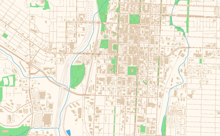 Colorado Springs Colorado printable map excerpt. This vector streetmap of downtown Colorado Springs is made for infographic and print projects.