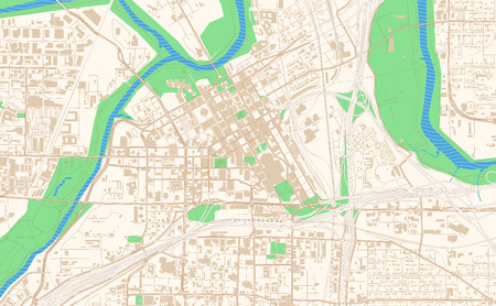Fort Worth Texas printable map excerpt. This vector streetmap of downtown Fort Worth is made for infographic and print projects.
