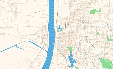 Extrait de carte imprimable de Baton Rouge Louisiane. Ce plan de rue vectoriel du centre-ville de Baton Rouge est conçu pour les projets d'infographie et d'impression.