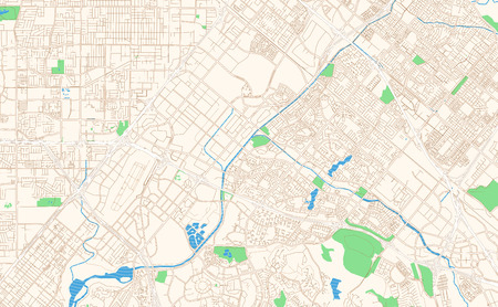 Irvine California printable map excerpt. This vector streetmap..
