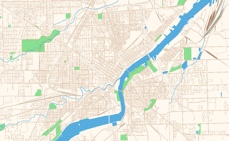 Toledo Ohio printable map excerpt. This vector streetmap of downtown Toledo is made for infographic and print projects. Illustration