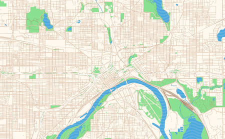 Saint Paul Minnesota printable map excerpt. This vector streetmap of downtown Saint Paul is made for infographic and print projects. Illustration