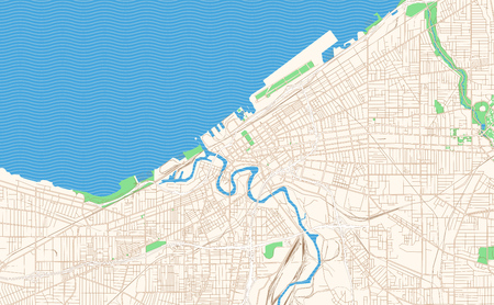 Cleveland Ohio printable map excerpt. This vector streetmap of downtown Cleveland is made for infographic and print projects. Illustration