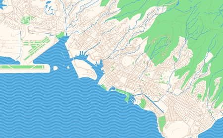 Honolulu Hawaii printable map excerpt. This vector streetmap of downtown Honolulu is made for infographic and print projects.
