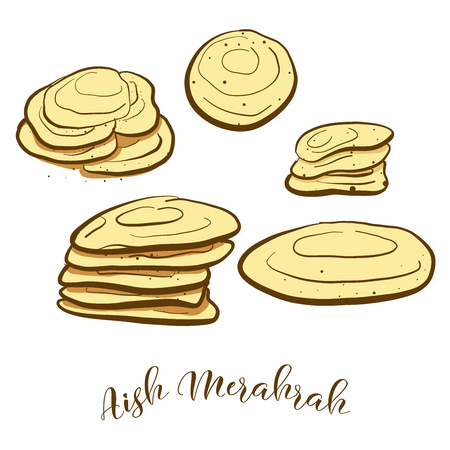 Colored sketches of Aish Merahrah bread. Vector drawing of Flatbread food, usually known in Egypt. Colored Bread illustration series.