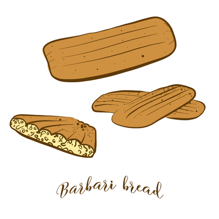 Colored sketches of Barbari bread bread. Vector drawing of Flatbread food, usually known in Iran,  Afghanistan. Colored Bread illustration series.