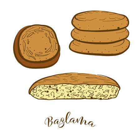 Colored sketches of Bazlama bread. Vector drawing of Flatbread food, usually known in Turkey. Colored Bread illustration series. Vettoriali
