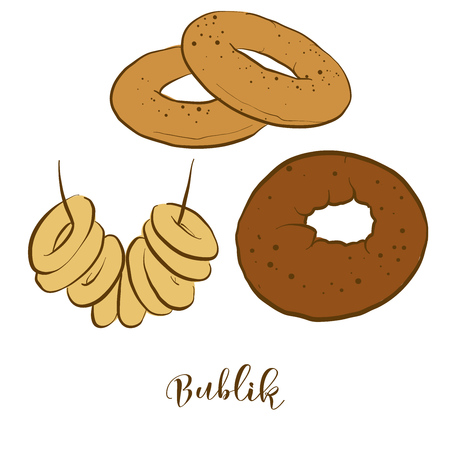 Colored sketches of Bublik bread. Vector drawing of Wheat bread food, usually known in Poland. Colored Bread illustration series.