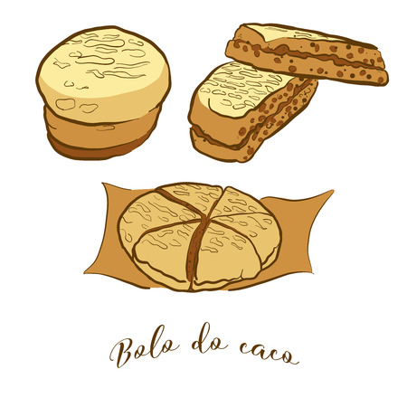 Colored sketches of Bolo do caco bread. Vector drawing of Flatbread food, usually known in Portugal, Madeira. Colored Bread illustration series. Foto de archivo - 125312052