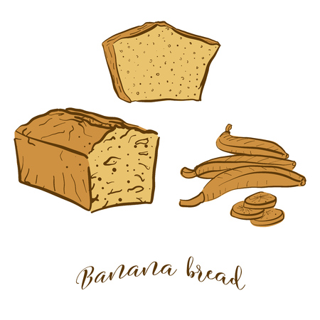 Colored sketches of Banana bread bread. Vector drawing of Sweet bread food, usually known in United States. Colored Bread illustration series.  イラスト・ベクター素材
