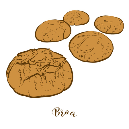 Colored sketches of Broa bread. Vector drawing of Cornbread food, usually known in Portugal. Colored Bread illustration series.
