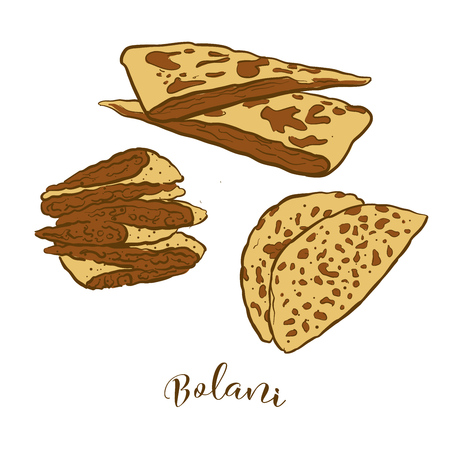 Colored sketches of Bolani bread. Vector drawing of Flatbread food, usually known in Afghanistan. Colored Bread illustration series.