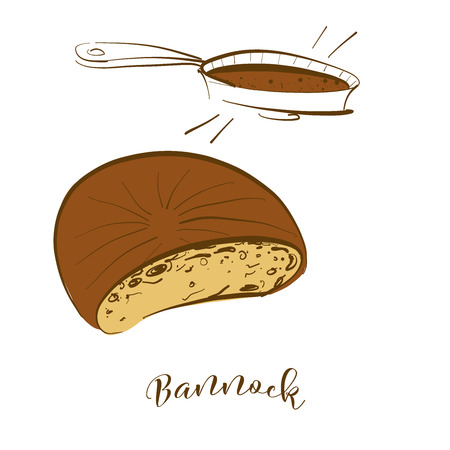 Colored sketches of Bannock bread. Vector drawing of Flatbread food, usually known in United Kingdom, Scotland. Colored Bread illustration series.