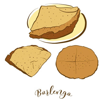 Colored sketches of Borlengo bread. Vector drawing of Pancake food, usually known in Italy. Colored Bread illustration series.