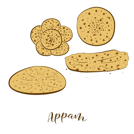 Colored sketches of Appam bread. Vector drawing of Varies widely food, usually known in India. Colored Bread illustration series. Ilustração