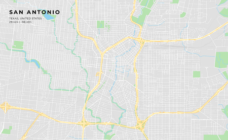 Printable streetmap of San Antonio including highways, major roads, minor roads and bigger railways. The name of the city and the geographic data are grouped and can be removed if they are not needed.