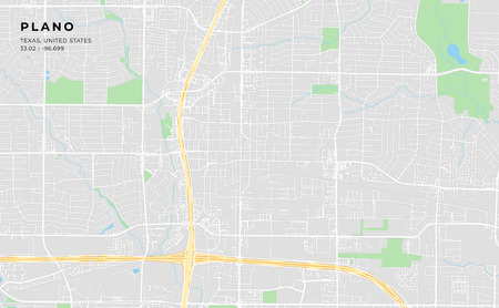 Printable streetmap of Plano including highways, major roads, minor roads and bigger railways. The name of the city and the geographic data are grouped and can be removed if they are not needed.