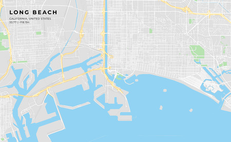 Printable streetmap of Long Beach including highways, major roads, minor roads and bigger railways. The name of the city and the geographic data are grouped and can be removed if they are not needed.  イラスト・ベクター素材