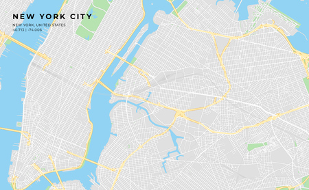 Printable streetmap of New York City including highways, major roads, minor roads and bigger railways. The name of the city and the geographic data are grouped and can be removed if they are not needed.