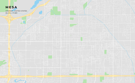 Printable streetmap of Mesa including highways, major roads, minor roads and bigger railways. The name of the city and the geographic data are grouped and can be removed if they are not needed.
