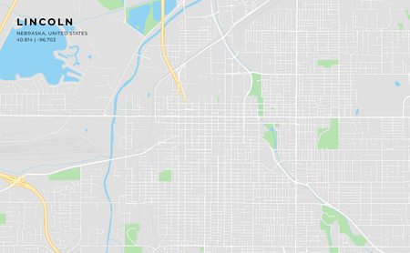 Printable streetmap of Lincoln including highways, major roads, minor roads and bigger railways. The name of the city and the geographic data are grouped and can be removed if they are not needed.  イラスト・ベクター素材