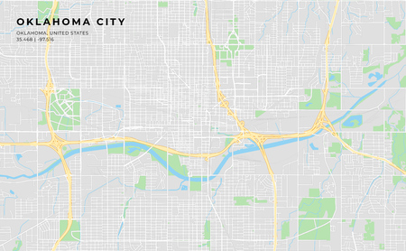 Printable streetmap of Oklahoma City including highways, major roads, minor roads and bigger railways. The name of the city and the geographic data are grouped and can be removed if they are not needed.