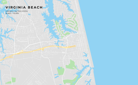 Printable streetmap of Virginia Beach including highways, major roads, minor roads and bigger railways. The name of the city and the geographic data are grouped and can be removed if they are not needed.