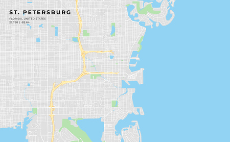 Printable streetmap of St. Petersburg including highways, major roads, minor roads and bigger railways. The name of the city and the geographic data are grouped and can be removed if they are not need