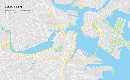 Printable streetmap of Boston including highways, major roads, minor roads and bigger railways. The name of the city and the geographic data are grouped and can be removed if they are not needed.  イラスト・ベクター素材