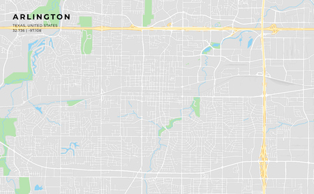 Printable streetmap of Arlington including highways, major roads, minor roads and bigger railways. The name of the city and the geographic data are grouped and can be removed if they are not needed.