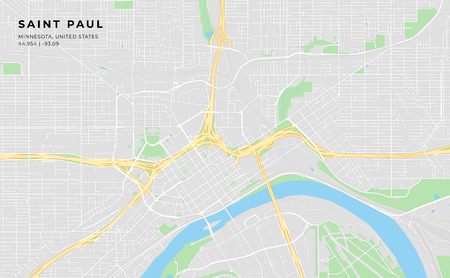 Printable streetmap of Saint Paul including highways, major roads, minor roads and bigger railways. The name of the city and the geographic data are grouped and can be removed if they are not needed.