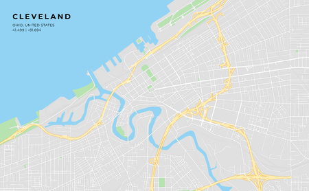 Printable streetmap of Cleveland including highways, major roads, minor roads and bigger railways. The name of the city and the geographic data are grouped and can be removed if they are not needed.