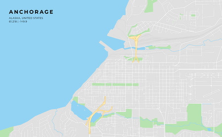 Printable streetmap of Anchorage including highways, major roads, minor roads and bigger railways. The name of the city and the geographic data are grouped and can be removed if they are not needed.