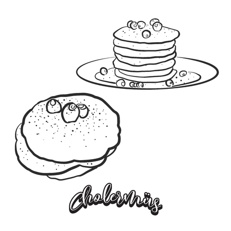 Hand drawn sketch of Cholermüs bread. Vector drawing of Pancake food, usually known in Switzerland. Bread illustration series. Stock Vector - 124851380
