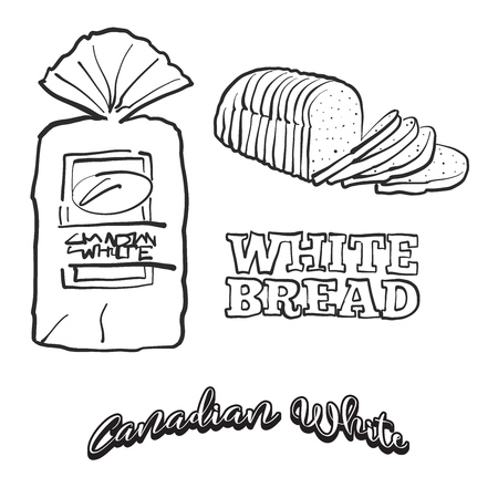 Hand drawn sketch of Canadian White bread. Vector drawing of White food, usually known in Canada. Bread illustration series. Standard-Bild - 124851382