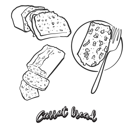 Hand drawn sketch of Carrot bread bread. Vector drawing of Leavened food, usually known in Ireland. Bread illustration series.