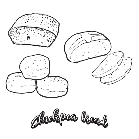 Hand drawn sketch of Chickpea bread bread. Vector drawing of Leavened food, usually known in Albania and Turkey. Bread illustration series.