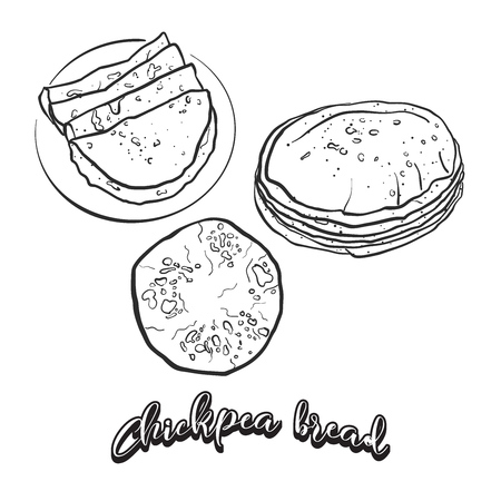 Hand drawn sketch of Chapati bread. Vector drawing of Flatbread food, usually known in South Asia. Bread illustration series. Illustration