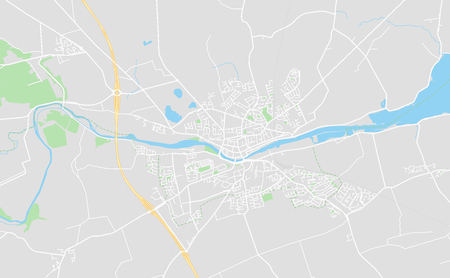 Drogheda, Ireland downtown street map in classic style colors with all relevant motorways, roads and railways.