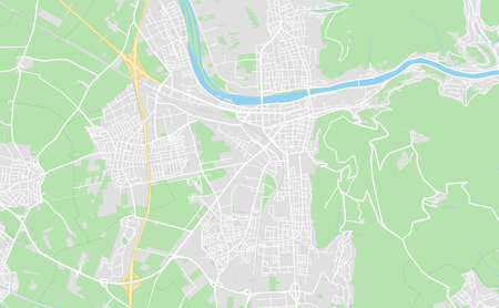 Heidelberg, Germany printable street map in classic style colors with all relevant motorways, roads and railways. Use this map for any kind of digital info graphics and print publication.