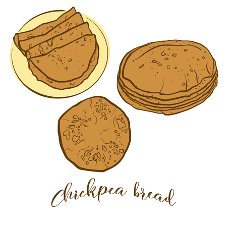 Colored sketches of Chapati bread. Vector drawing of Flatbread food, usually known in South Asia. Colored Bread illustration series. Illustration