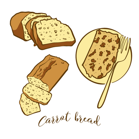 Colored sketches of Carrot bread bread. Vector drawing of Leavened food, usually known in Ireland. Colored Bread illustration series.