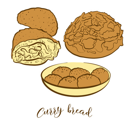 Colored sketches of Curry bread bread. Vector drawing of Bun food, usually known in Japan. Colored Bread illustration series.