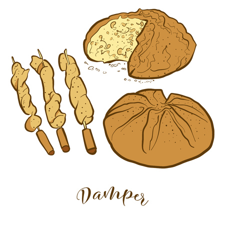 Colored sketches of Damper bread. Vector drawing of Soda bread food, usually known in Australia. Colored Bread illustration series.