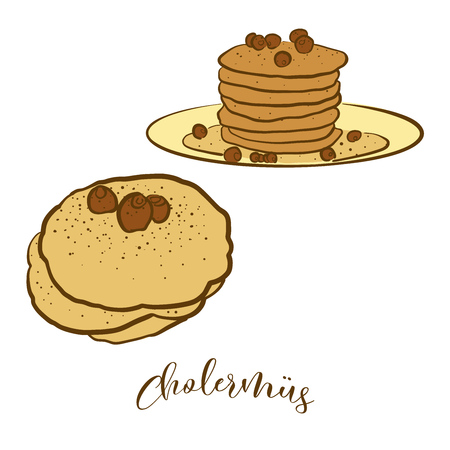 Colored sketches of Cholermüs bread. Vector drawing of Pancake food, usually known in Switzerland. Colored Bread illustration series. Çizim