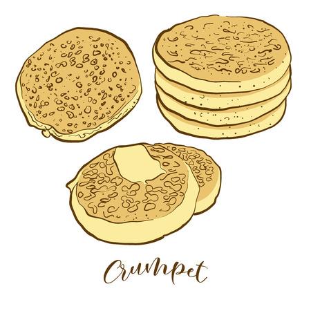 Bocetos coloreados de pan Crumpet. Dibujo vectorial de comida Flatbread, generalmente conocida en Reino Unido. Serie de ilustraciones de pan de colores.